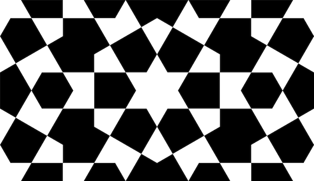 Seamless geometric ornament based on traditional islamic art. black and white.