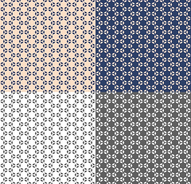 Seamless geometric pattern in arabic style with polygon, star. vectore repeating texture for wallpaper, packaging, invitation, fabric print. beige, blue and monochrome background. color inversion.