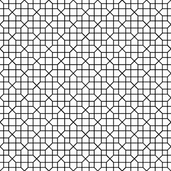 シームレスな幾何学模様。黒い色の線。平均の太さの線