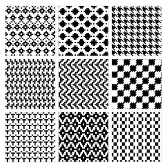 Seamless geometric pattern collection of modern stylish ornate abstract black white texture geometry