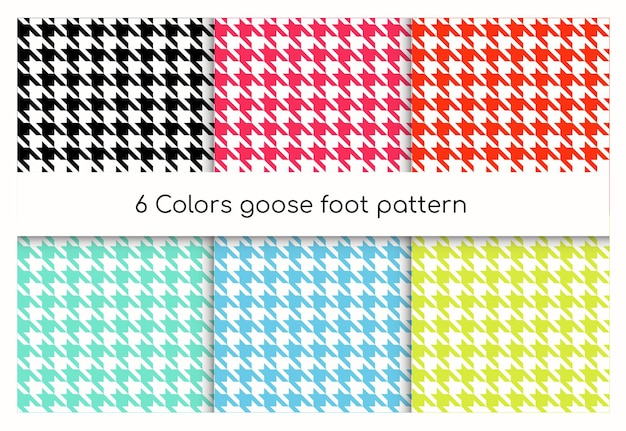 Seamless geometric pattern goose foot, hound tooth set. collection of classic english check texture