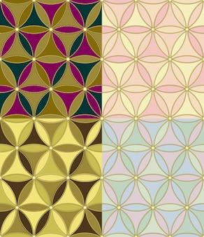 네 가지 색상 조합의 육각형의 완벽한 기하학적 패턴