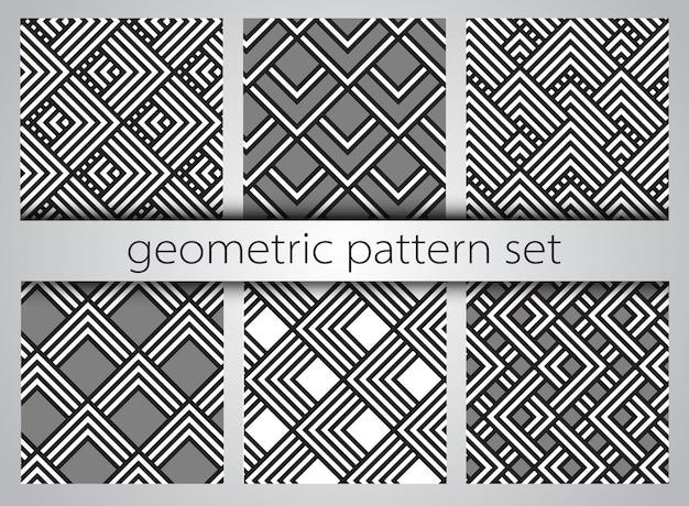Seamless geometric pattern set.