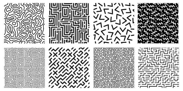 Seamless geometric pattern. striped labyrinth, 80s style texture and abstract digital maze patterns
