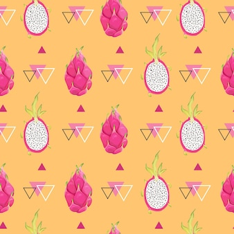 Seamless geometric pattern with dragon fruits, pitaya background. hand drawn vector illustration in watercolor style for summer romantic cover, tropical wallpaper, vintage texture