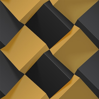 Seamless geometric pattern with realistic black and golden 3d cubes