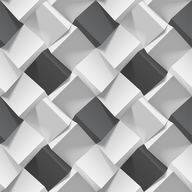 Seamless geometric pattern with realistic black and white cubes Premium Vector