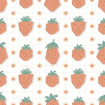 パステルカラーの赤いイチゴと花とのシームレスな幾何学模様。白い背景の上の夏のベリーとフラットスタイルのイラスト。子供、服、テキスタイル、壁紙用に印刷します。ベクター