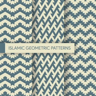 Seamless geometric textile backgrounds patterns collection
