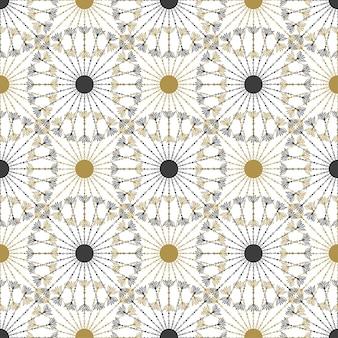 완벽 한 기하학적 빈티지 검정색과 금색 원형 패턴입니다. 벡터 텍스처