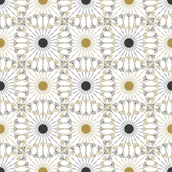 Seamless geometric vintage black and gold circle pattern. vector texture