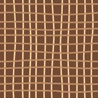茶色の背景にシームレスな幾何学的な抽象的なパターン手描きスタイルの市松模様
