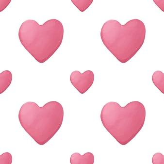 ピンクの水彩手描きの心とのシームレスな幾何学模様