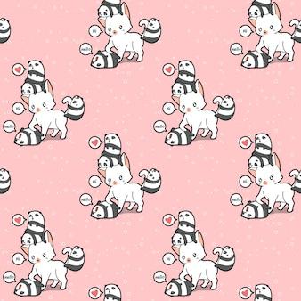 Seamless giant cat and small pandas pattern