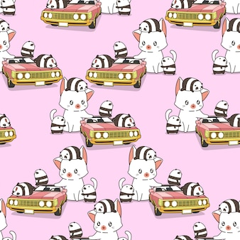 Seamless giant cat and small pandas with pink car pattern
