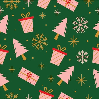 Seamless gift boxes and christmas tree pattern in vector