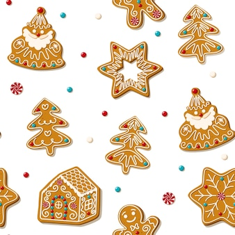 Seamless gingerbread christmas cookie.
