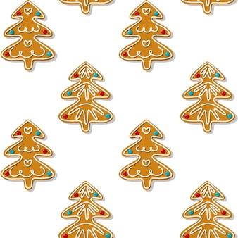 シームレスなジンジャーブレッドのクリスマスツリーのクッキーパターン白い背景