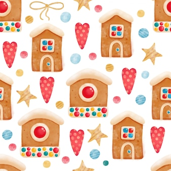Seamless gingerbread pattern with people houses for christmas holiday