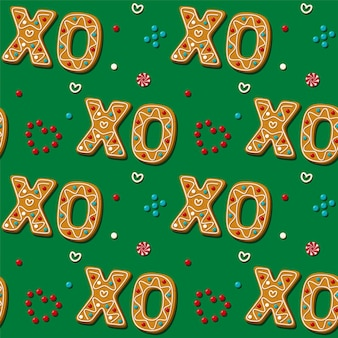 Seamless gingerbread xo phrase cookie.