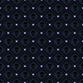 Seamless glam black quilted background.
