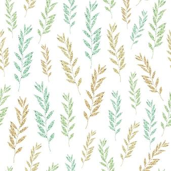 Бесшовный образец блеска на белом с монохромными блестящими листьями
