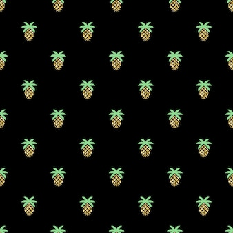 Seamless glitter pineapple pattern on black background