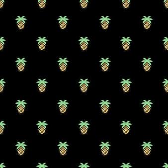 Бесшовный блеск ананаса шаблон на черном фоне