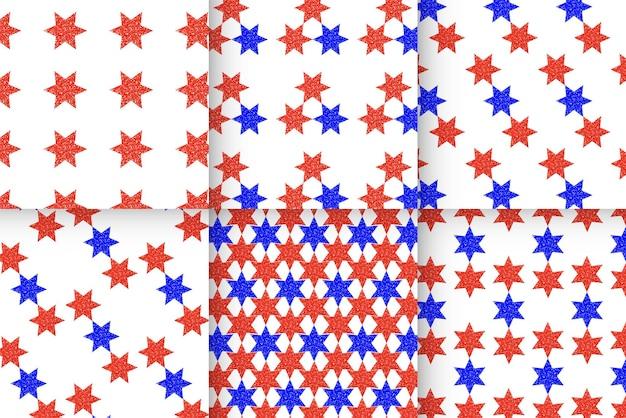 シームレスなキラキラ赤い星の背景デザインリソース