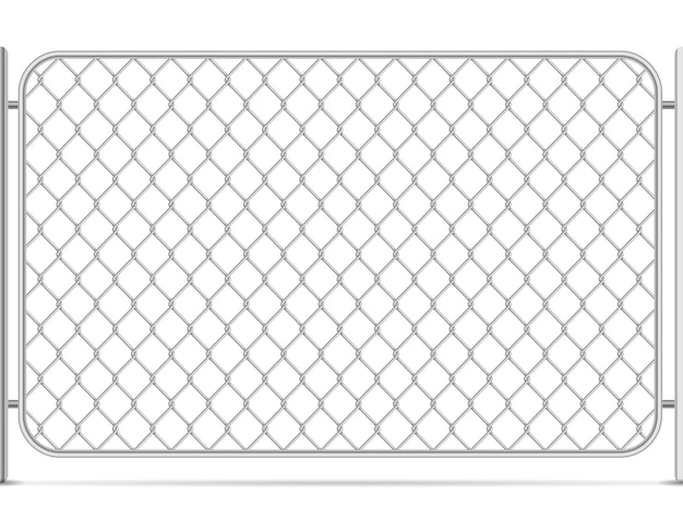 Seamless glossy metal chain link fence on white