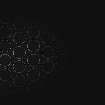 黒の背景にシームレスな金の円グリッドパターン