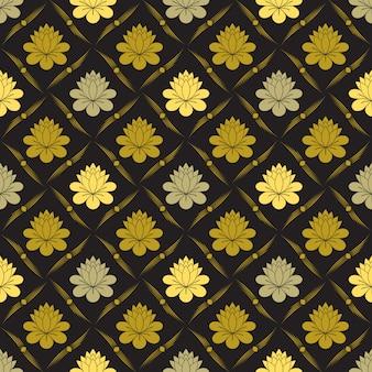 Бесшовный золотой цветочный узор