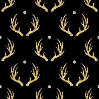 Seamless gold glitter antler with silver dot glitter pattern on black background
