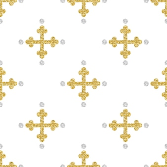 Seamless gold glitter cross with silver dot glitter pattern background