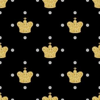 Бесшовные золотой блеск корону с серебряной точки блеск шаблон на черном фоне