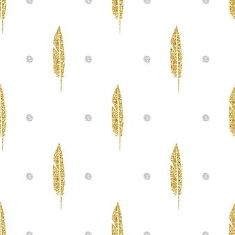 シームレスな金色の輝きの羽、シルバードットの輝きのパターンの背景