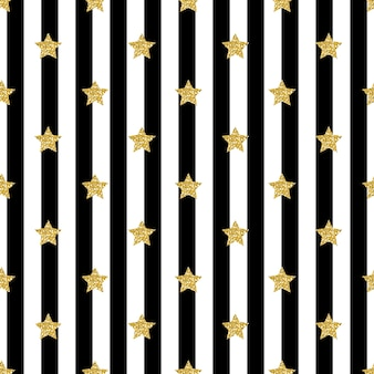 Seamless gold glitter star pattern on stripe background