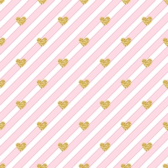 Seamless gold heart glitter pattern on pink stripe background