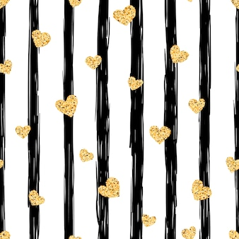 Seamless gold heart pattern.