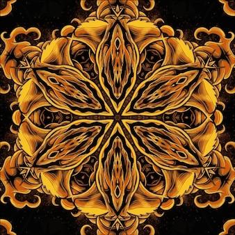 シームレスなゴールドの色とりどりの万華鏡の質感。デザインのイラスト