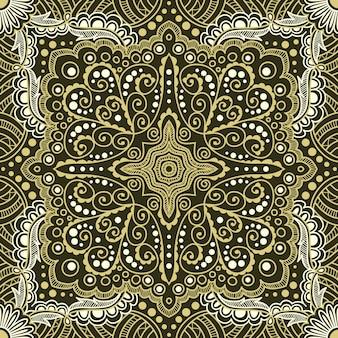 黒の背景にスパイラル、渦巻き、チェーンのシームレスなゴールドパターン