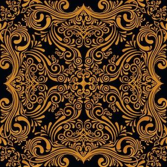 アート飾りとシームレスなゴールドパターン