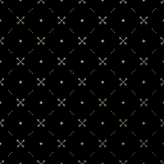 Seamless gold pattern with crossed arrows