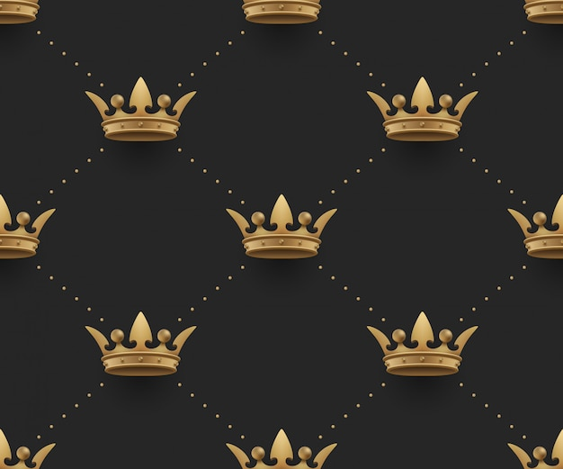 Seamless gold pattern with king crowns on a dark black background.  illustration.