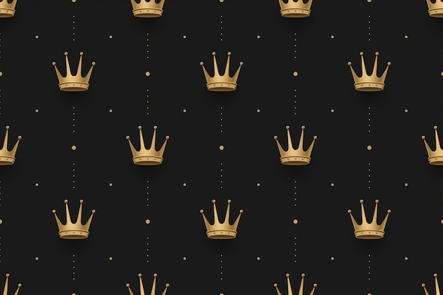 Seamless gold pattern with king crowns on a dark black design