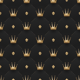 Seamless gold pattern with king crowns and fleur-de-lys on a dark black background. vector illustration.