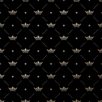 Seamless  gold pattern with king crowns