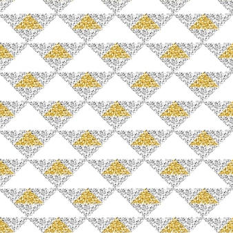 Seamless gold and silver glitter triangle pattern background