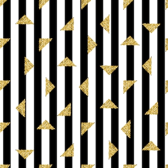 Seamless gold triangle  glitter pattern on stripe background