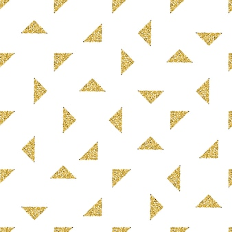 Seamless gold triangle  glitter pattern on white background